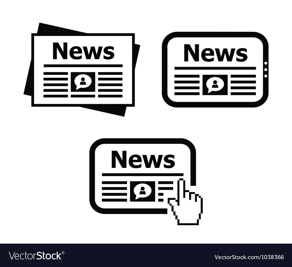 Newpaper news on tablet icons set vector | Price: 1 Credit (USD $1)