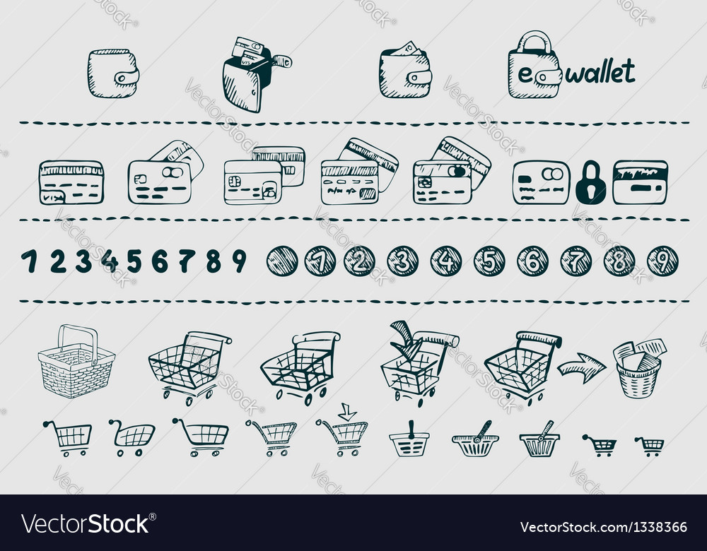 Sketchy shopping and commerce elements vector | Price: 3 Credit (USD $3)