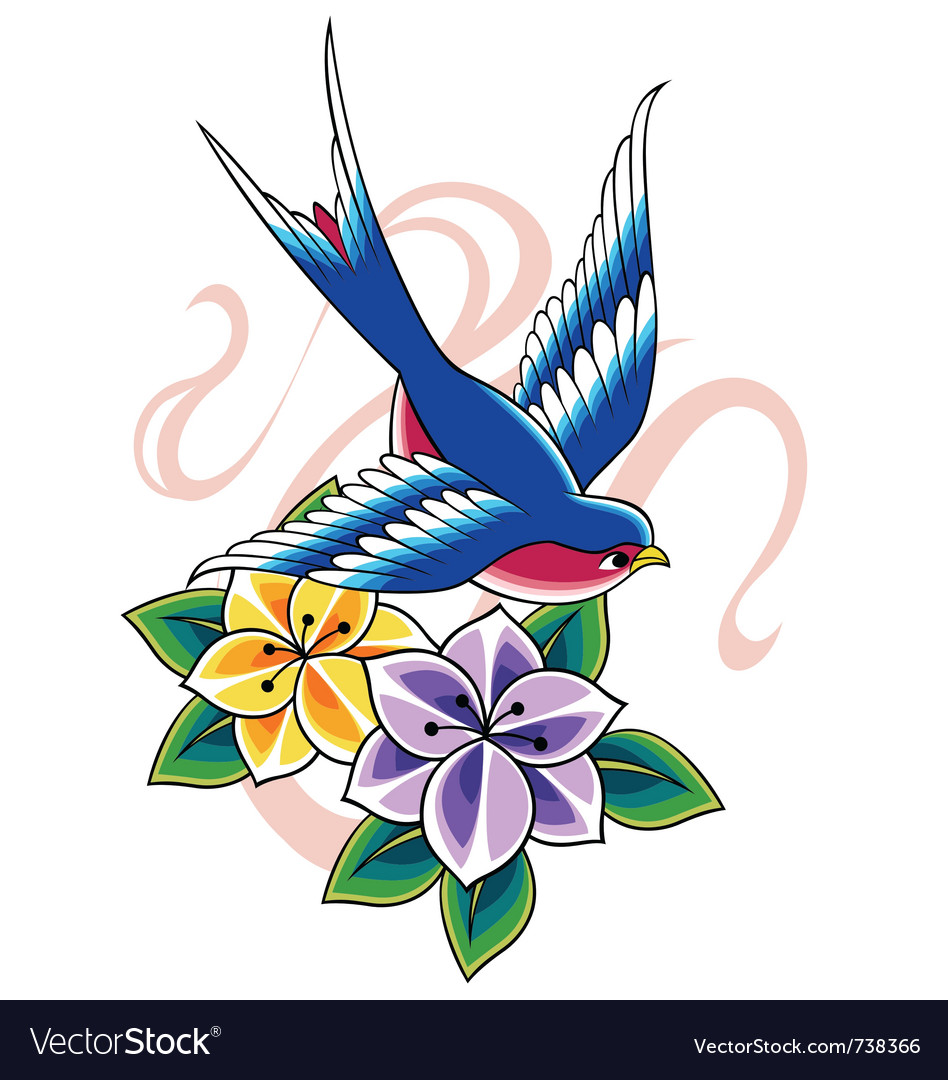 Swallow tattoo vector