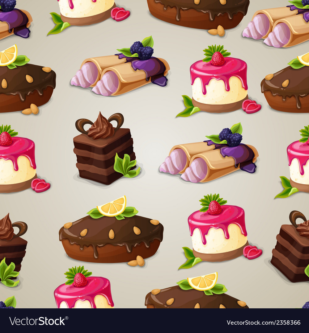 Sweets dessert seamless pattern vector | Price: 1 Credit (USD $1)