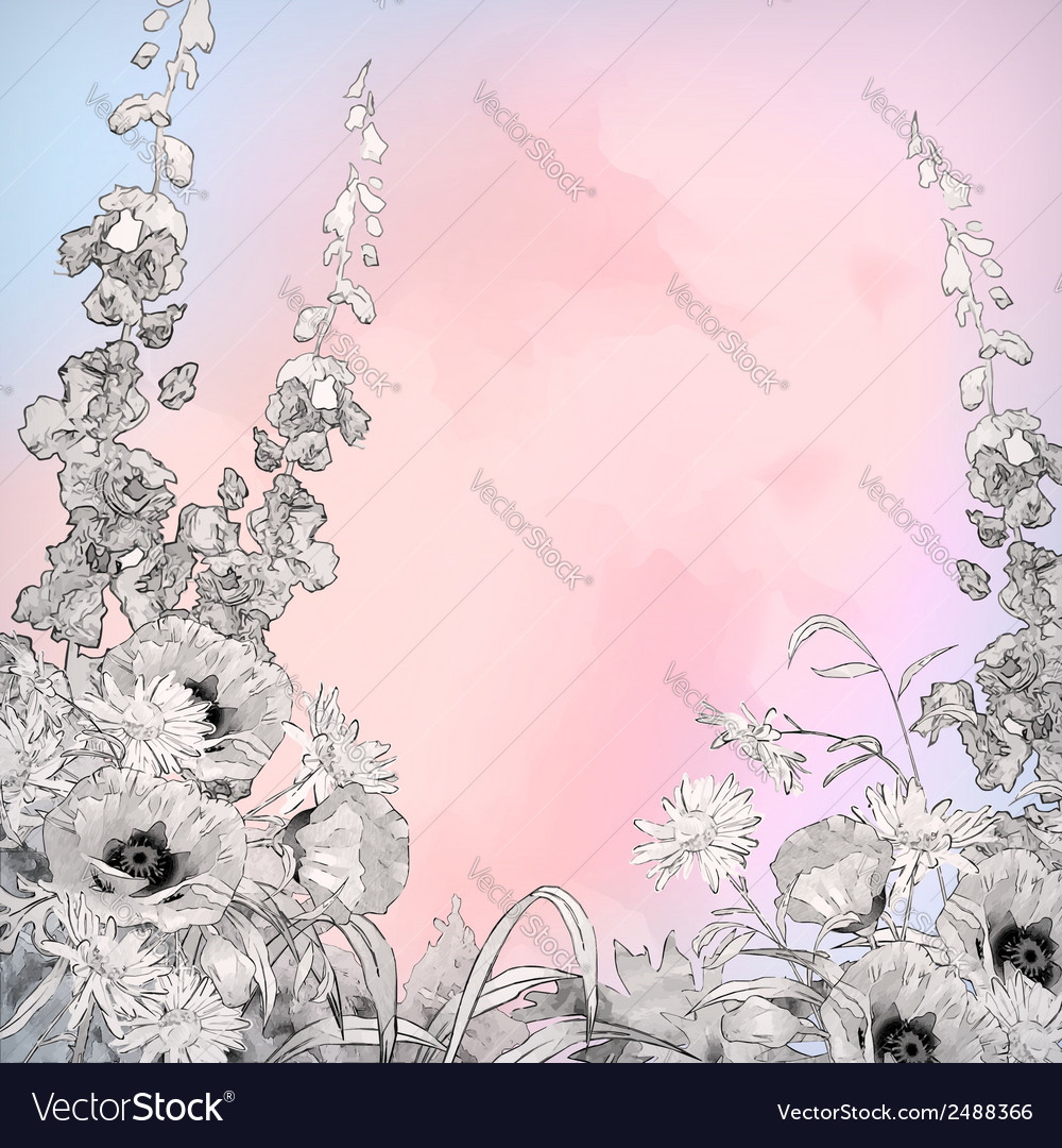 Watercolor pencil ink sketch flowers vector | Price: 1 Credit (USD $1)