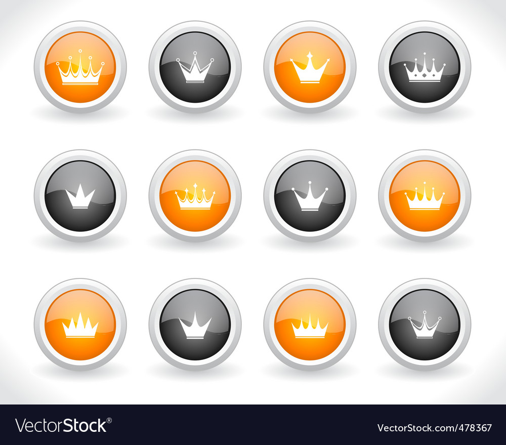 Buttons for web with crowns vector | Price: 1 Credit (USD $1)