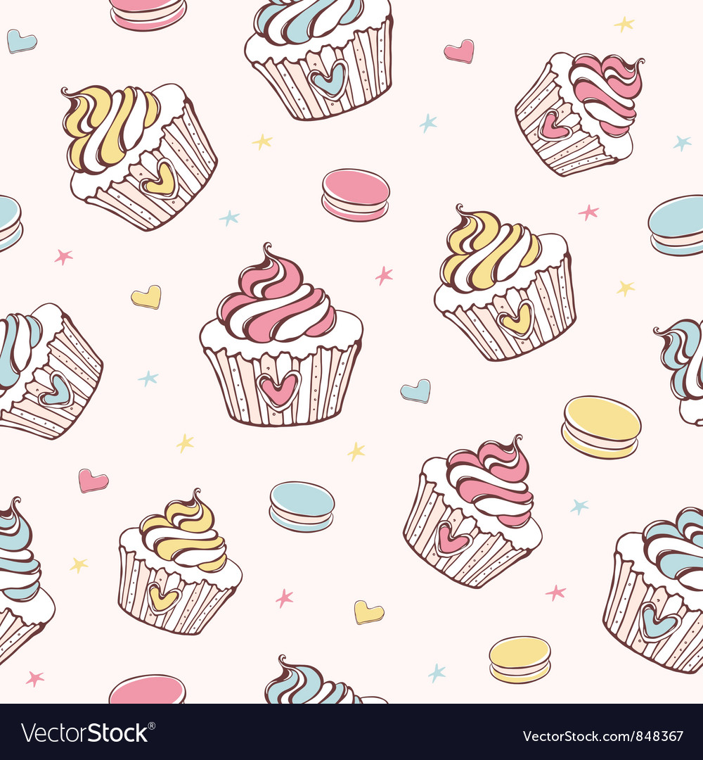 Cupcakes and macaroons seamless pattern vector   Price: 1 Credit (USD $1)