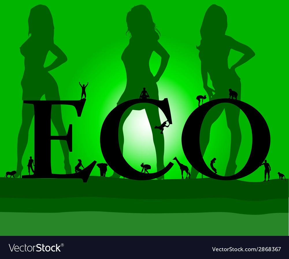 Eco with three sexy green girl vector   Price: 1 Credit (USD $1)