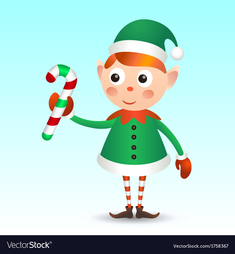 Elf with candy cane vector | Price: 1 Credit (USD $1)