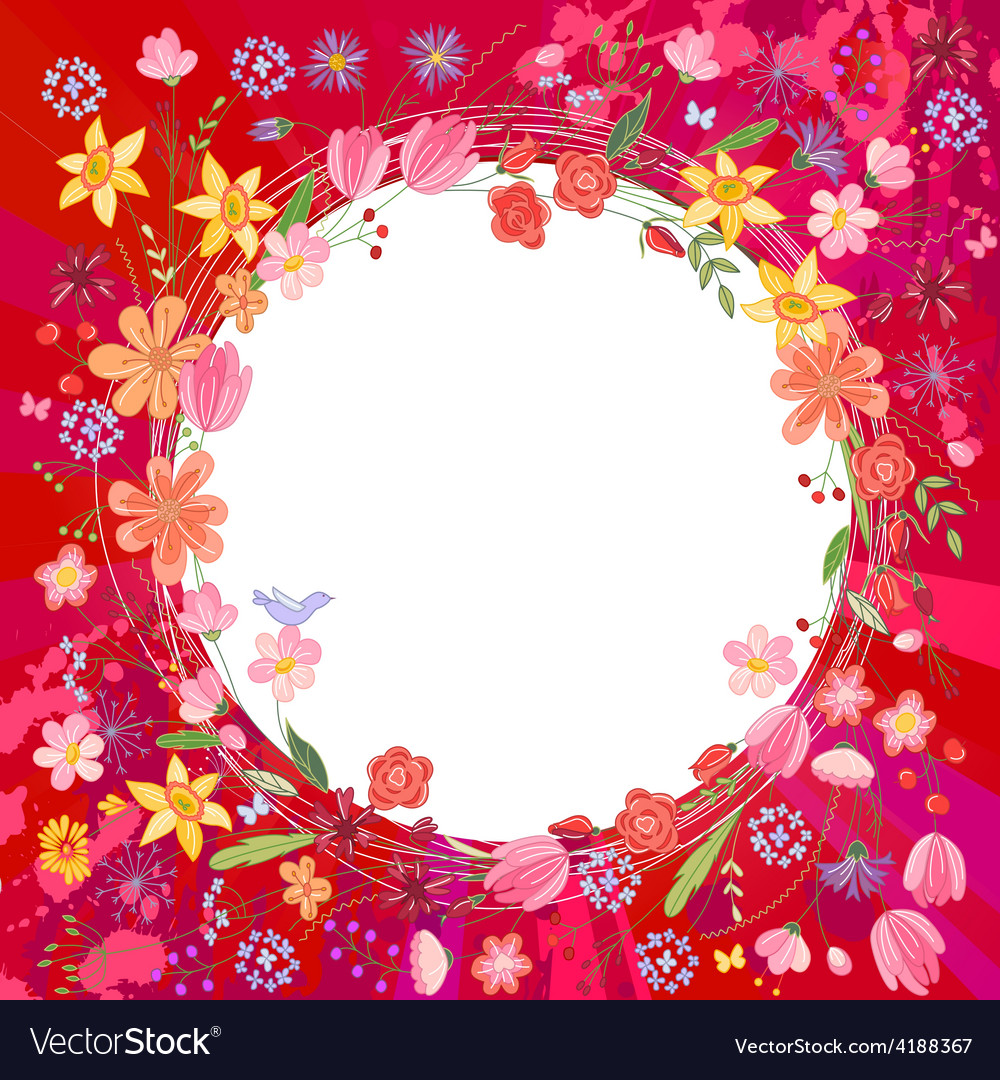 Greeting card with wreath of different flowers vector | Price: 1 Credit (USD $1)