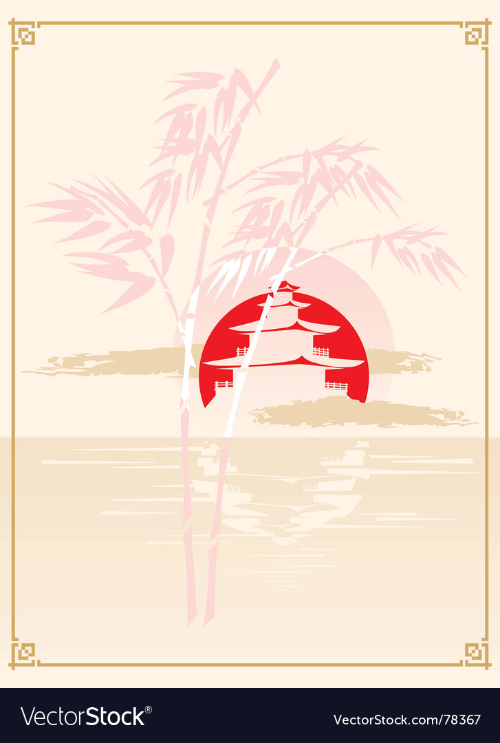 Japanese pagoda bamboo and sun vector | Price: 1 Credit (USD $1)
