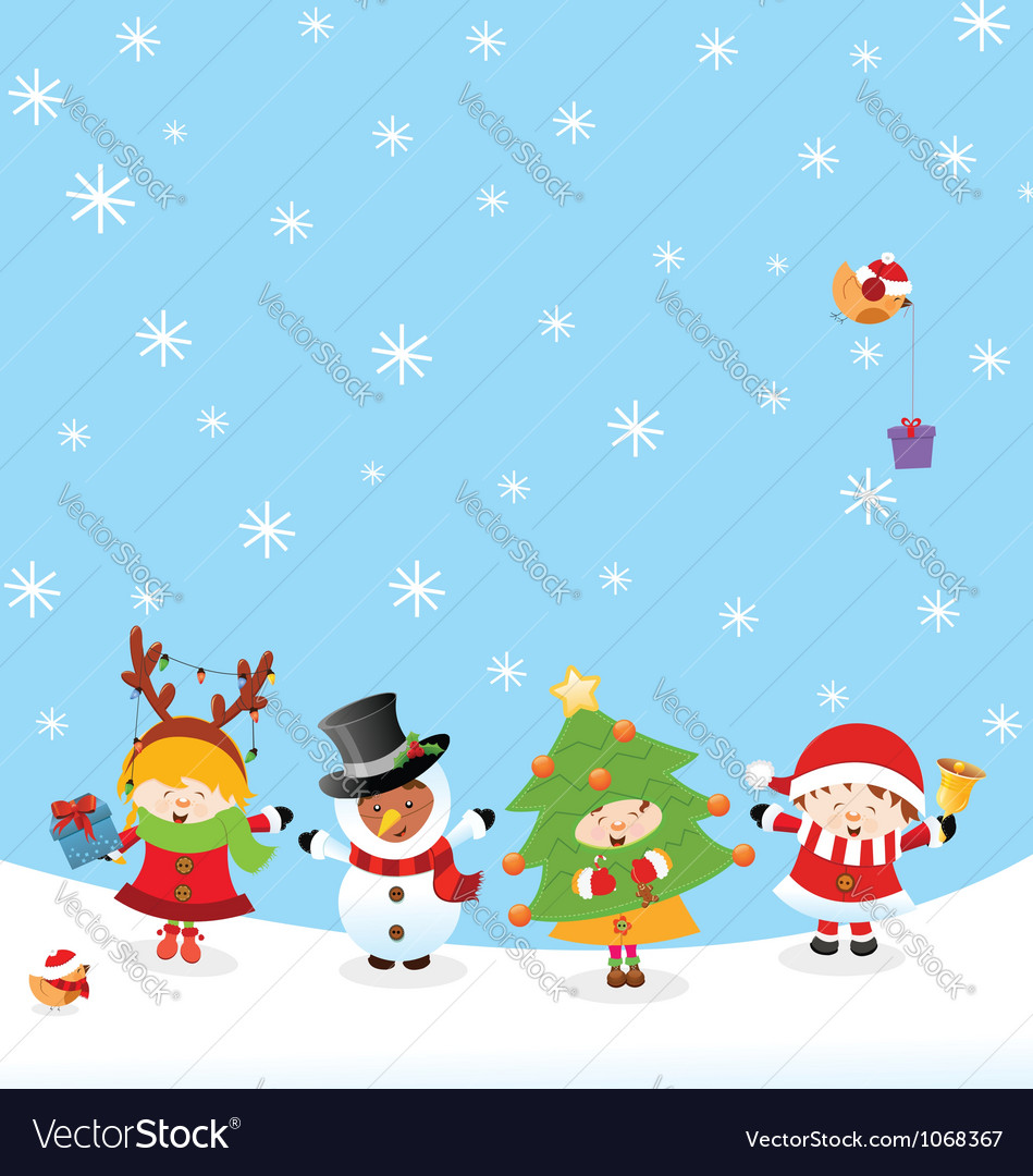 Kids with christmas costume vector | Price: 3 Credit (USD $3)