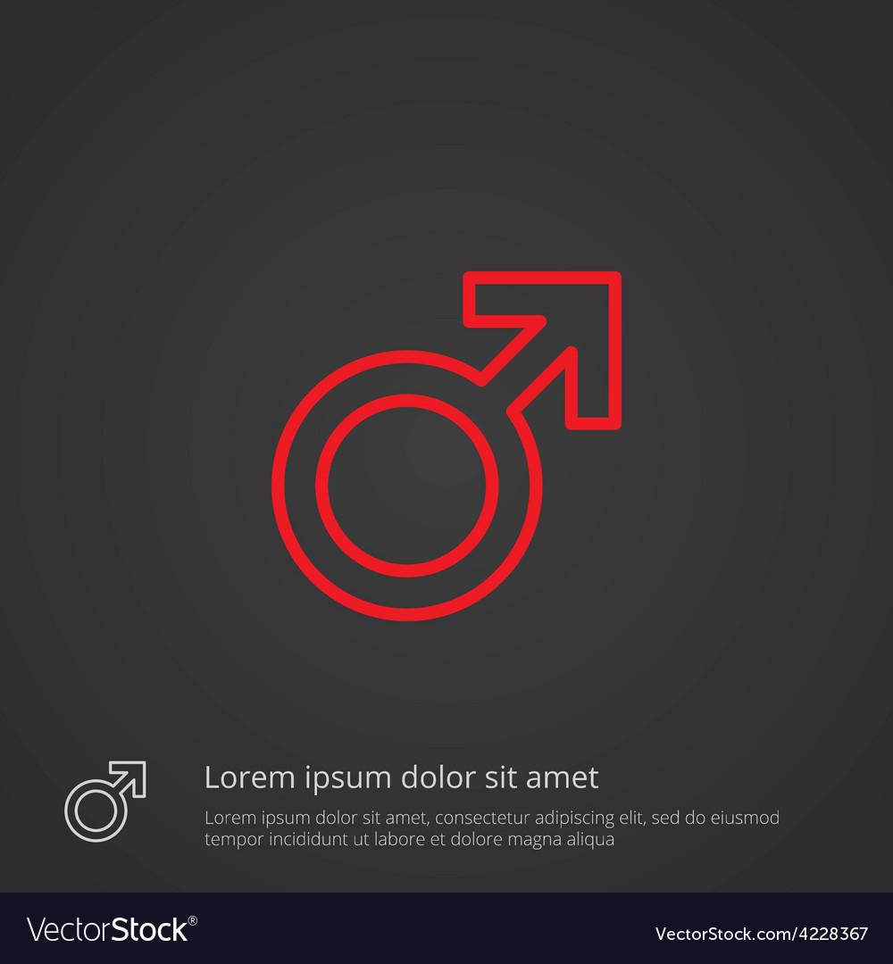 Male symbol outline symbol red on dark background vector | Price: 1 Credit (USD $1)
