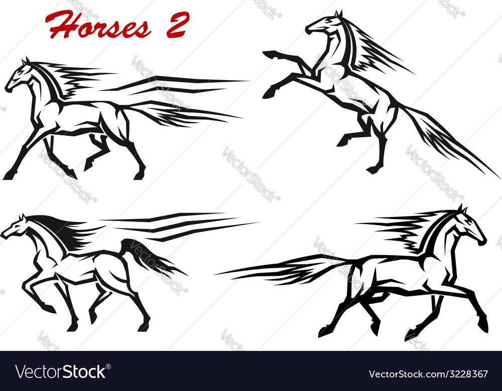 Powerful and freedom stallions vector | Price: 1 Credit (USD $1)