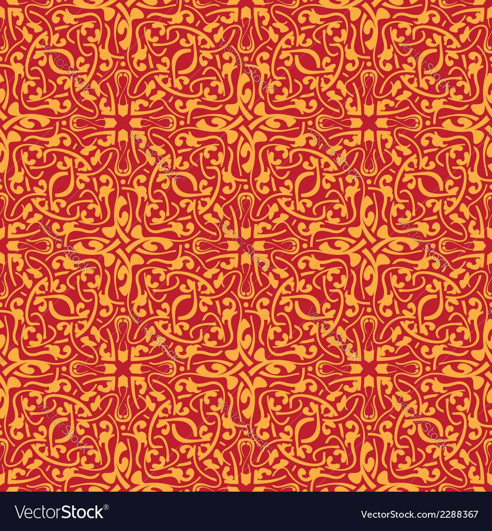 Seamless orange floral wallpaper vector | Price: 1 Credit (USD $1)