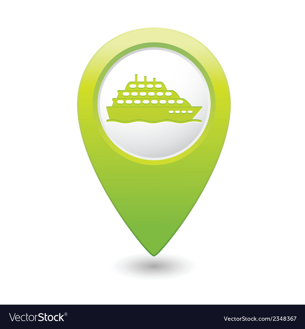 Ship icon green map pointer vector | Price: 1 Credit (USD $1)