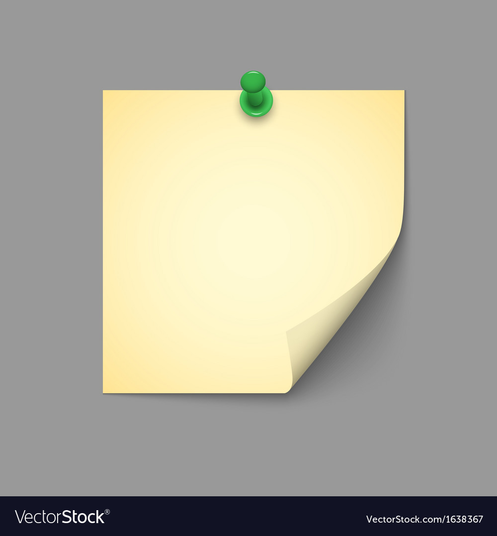 Yellow note with green push pin vector | Price: 1 Credit (USD $1)