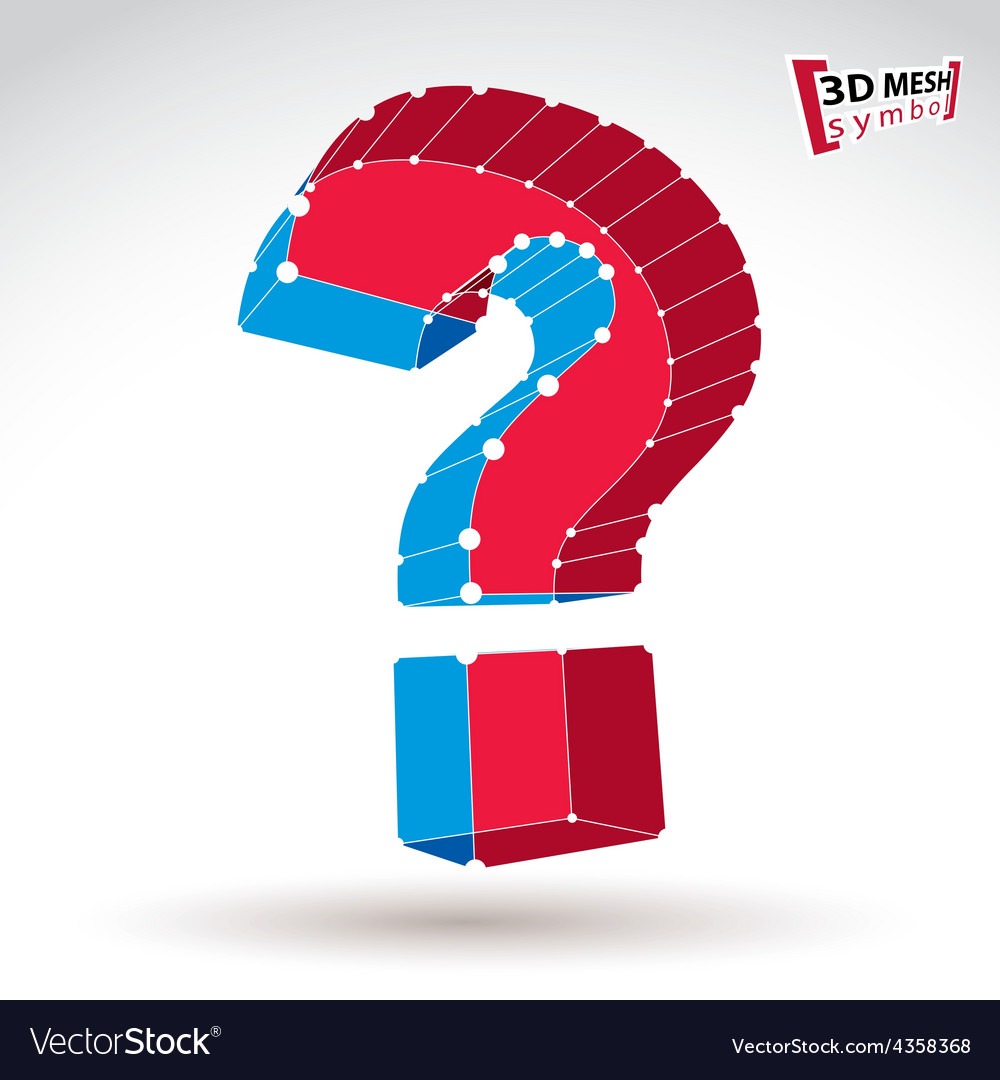 3d mesh stylish red and blue web question mark vector | Price: 1 Credit (USD $1)
