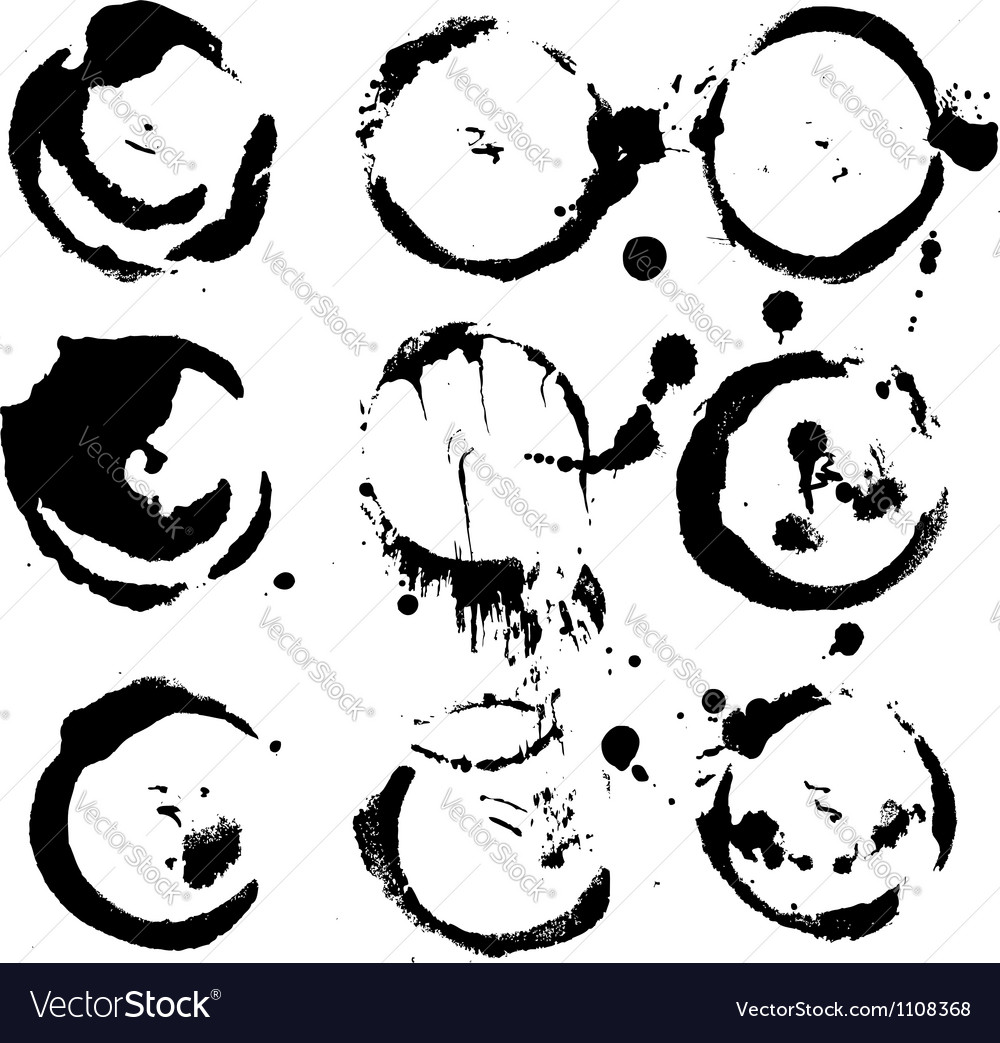 Abstract round prints strokes and splashes of ink vector | Price: 1 Credit (USD $1)