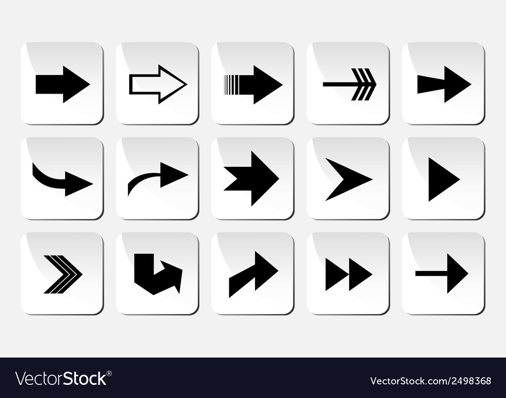 Arrow button set vector | Price: 1 Credit (USD $1)