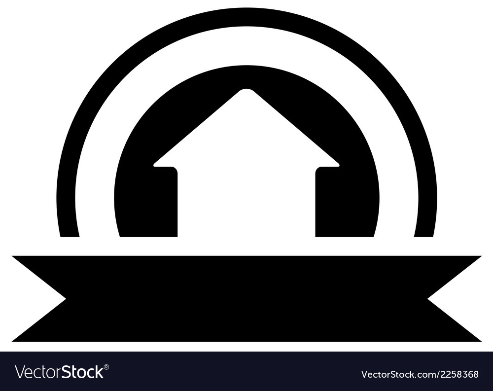 Black real estate icon with cottage vector | Price: 1 Credit (USD $1)