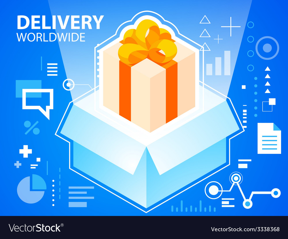 Bright delivery box and gift box with bow on vector | Price: 3 Credit (USD $3)
