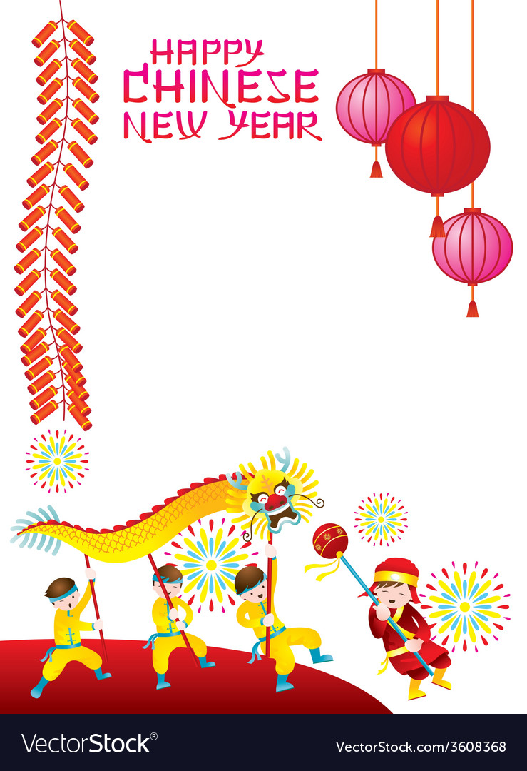 Chinese new year frame with dragon dancing vector | Price: 1 Credit (USD $1)
