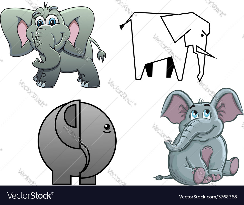 Cute cartoon baby elephants vector | Price: 1 Credit (USD $1)