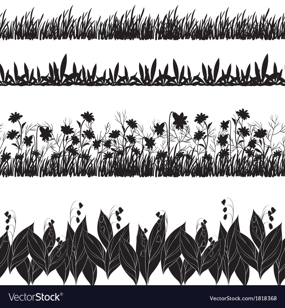 Flowers and grass silhouette set seamless vector | Price: 1 Credit (USD $1)