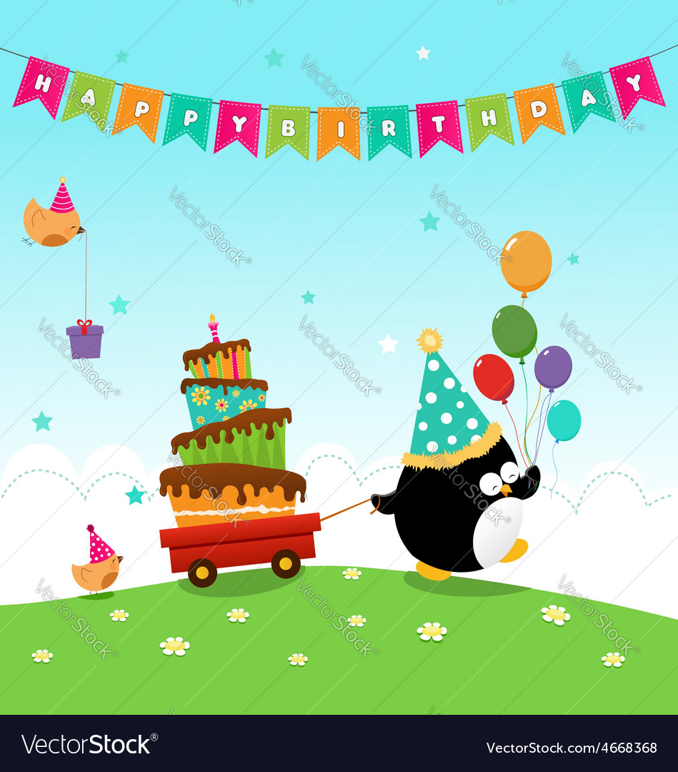 Penguin delivering birthday cake vector | Price: 3 Credit (USD $3)