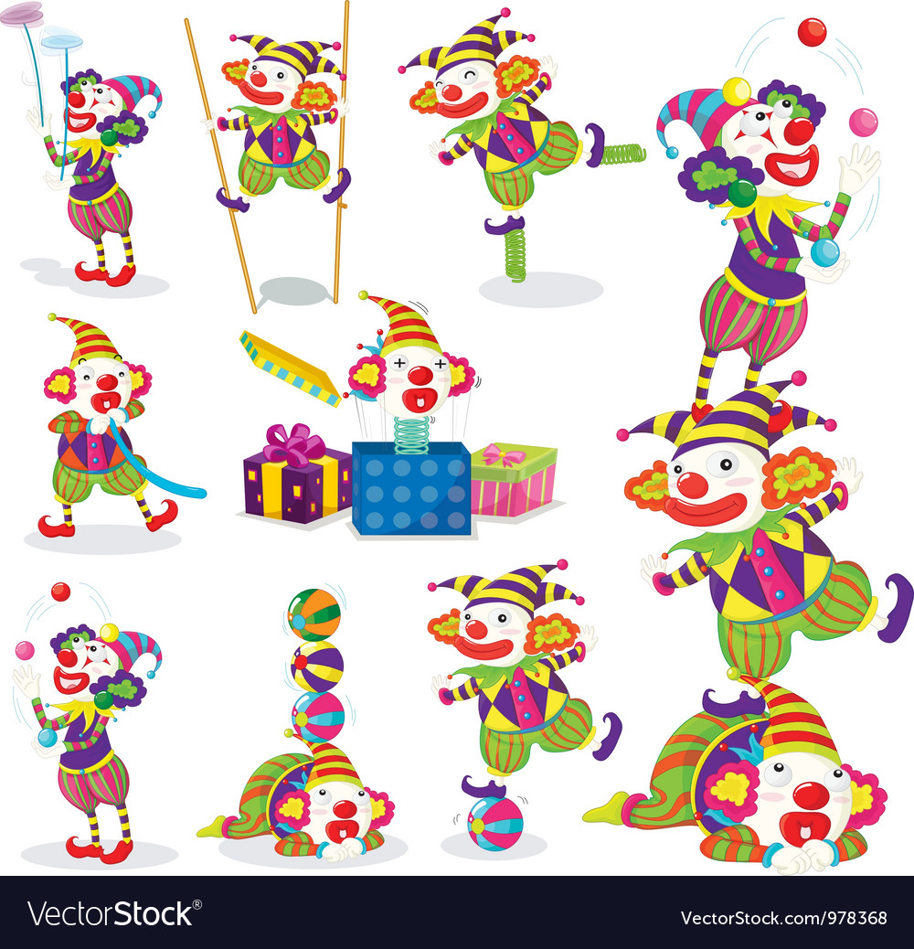 Performing clowns vector | Price: 3 Credit (USD $3)
