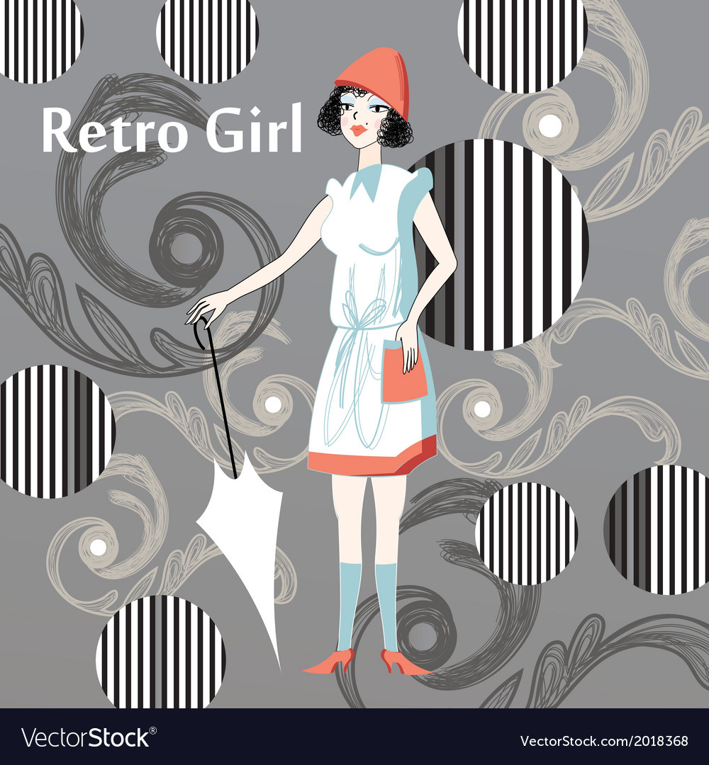 Retro girl vector | Price: 1 Credit (USD $1)