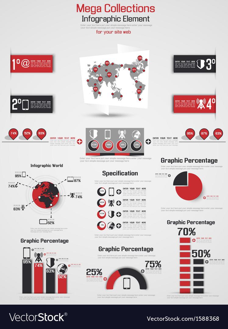 Retro infographic demographic world map elements 2 vector | Price: 1 Credit (USD $1)