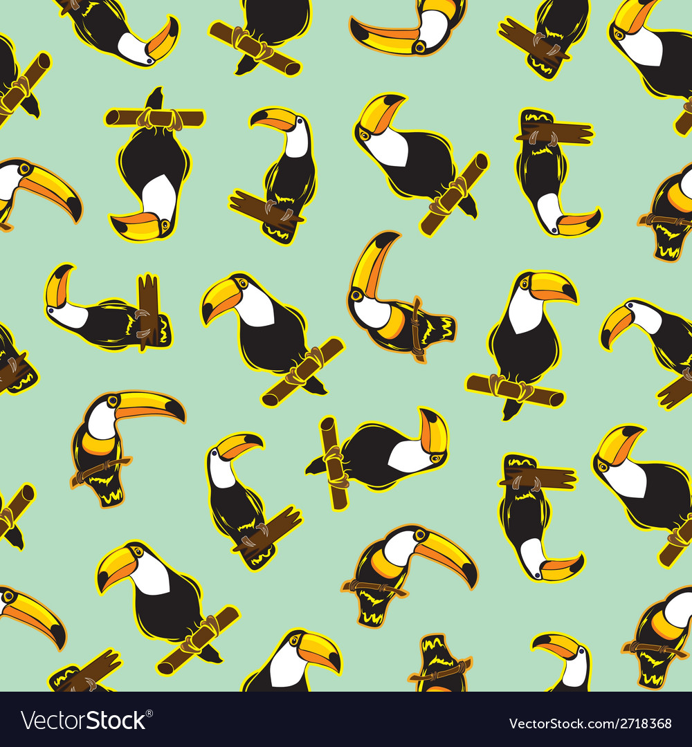 Seamless exotic brazil toucan bird background vector | Price: 1 Credit (USD $1)