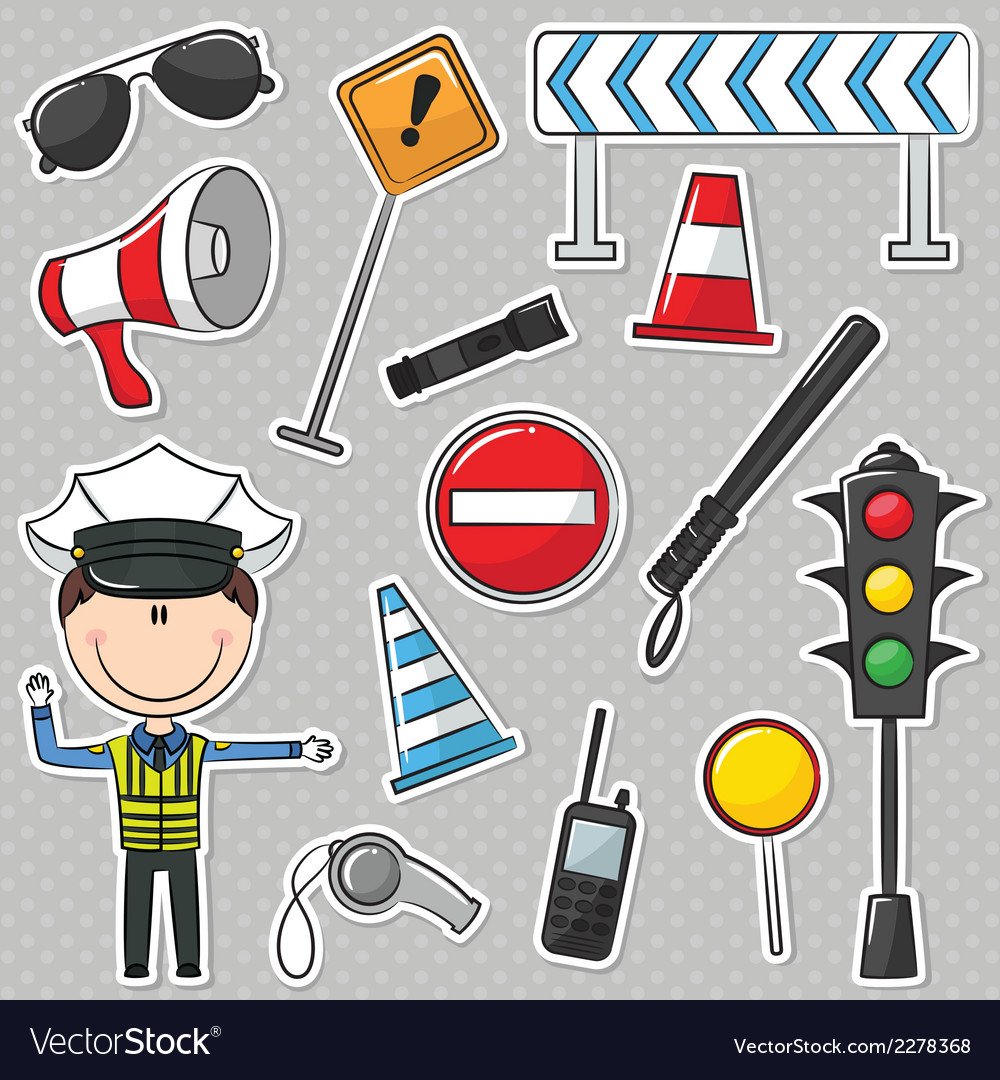 Traffic policeman vector | Price: 1 Credit (USD $1)