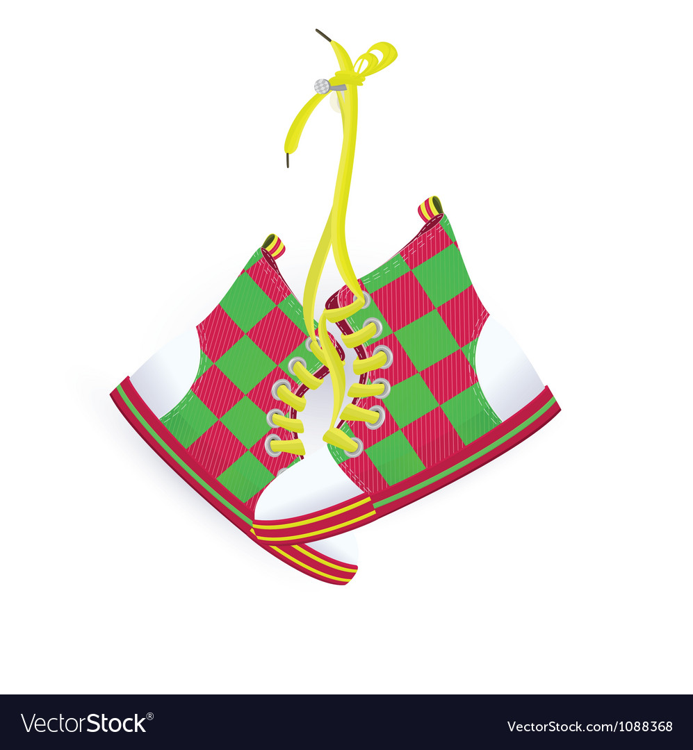 Two sneakers hanging on nail vector | Price: 1 Credit (USD $1)