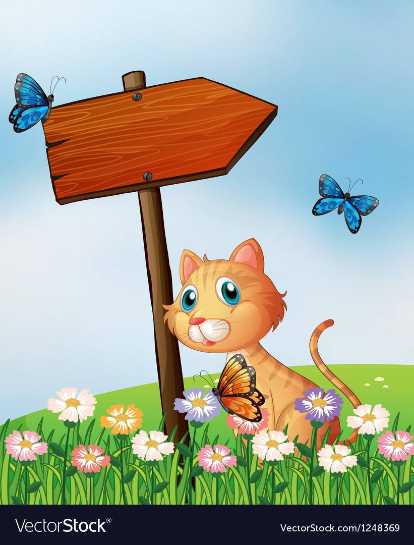 An orange cat with a wooden arrow board vector | Price: 1 Credit (USD $1)