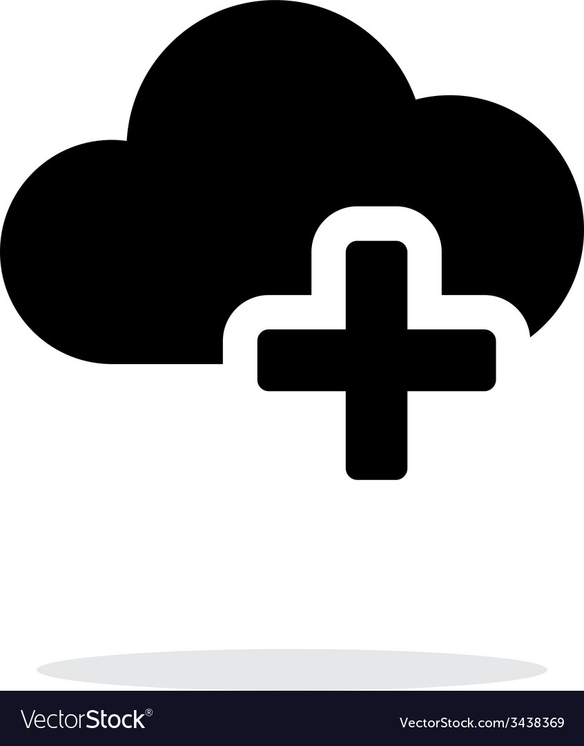 Cloud computing with plus simple icon on white vector | Price: 1 Credit (USD $1)