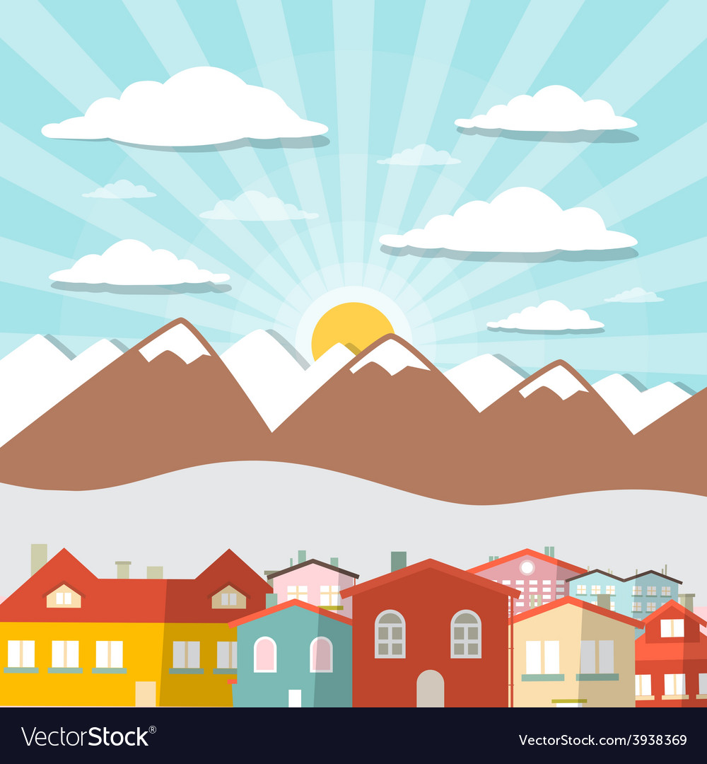 Houses - city mountain flat design vector | Price: 1 Credit (USD $1)