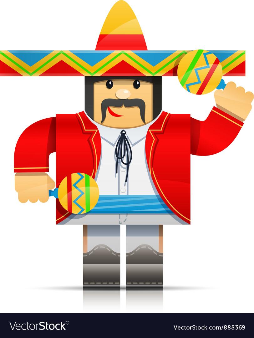 Mexicano man origami toy vector