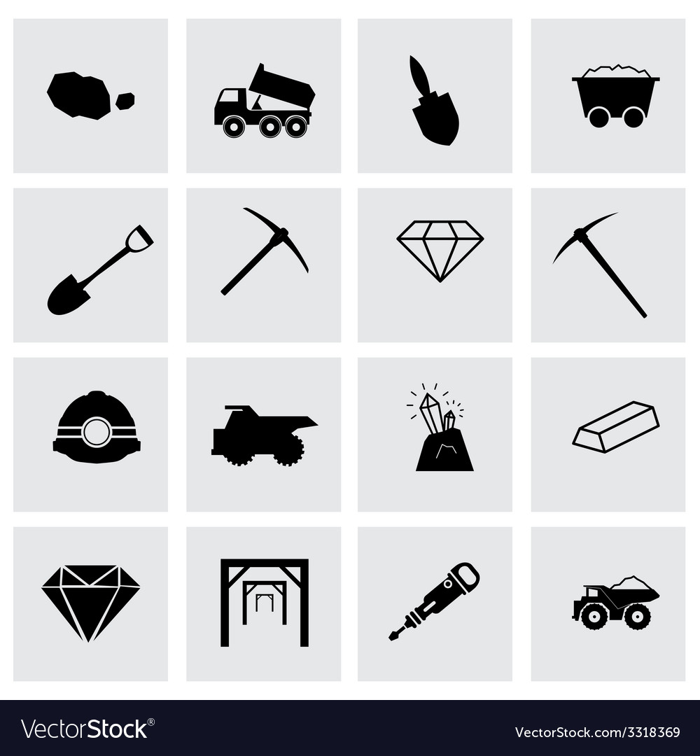 Mining icon set vector | Price: 1 Credit (USD $1)