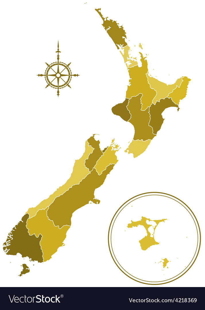 New zealand silhouette map vector | Price: 1 Credit (USD $1)