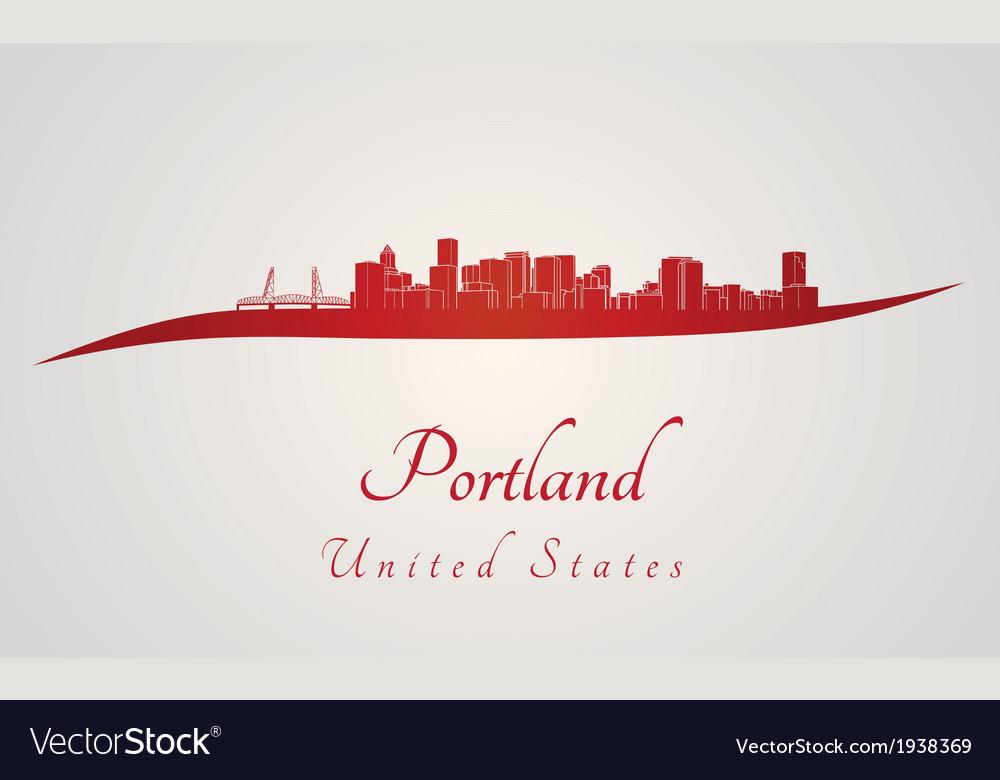 Portland skyline in red vector | Price: 1 Credit (USD $1)