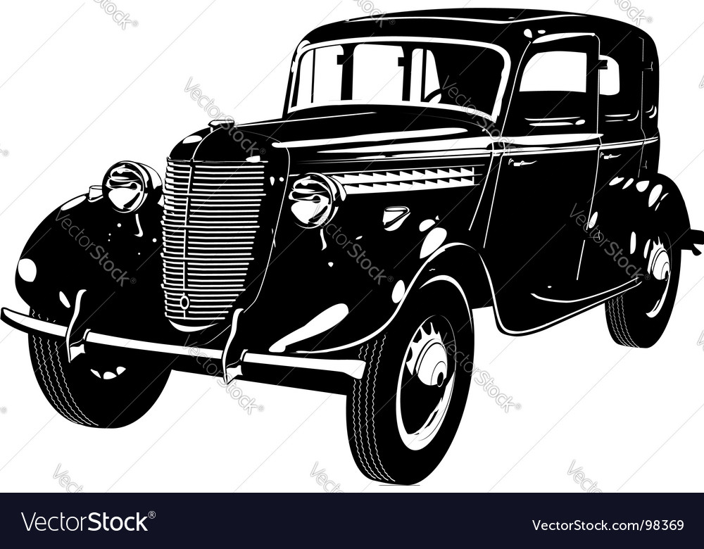 Retro car silhouette vector | Price: 1 Credit (USD $1)