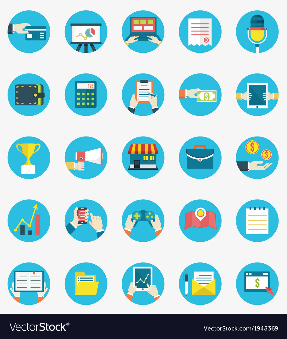 Set of business internet service icons vector | Price: 1 Credit (USD $1)