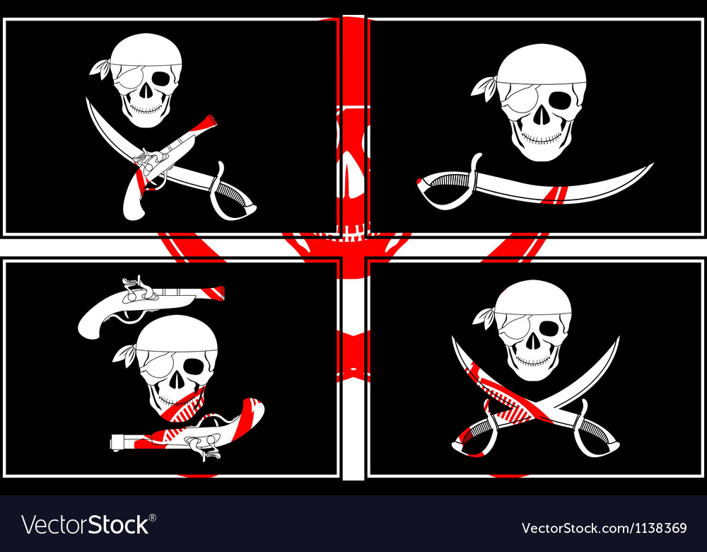 Set of pirates flags stencils vector | Price: 1 Credit (USD $1)