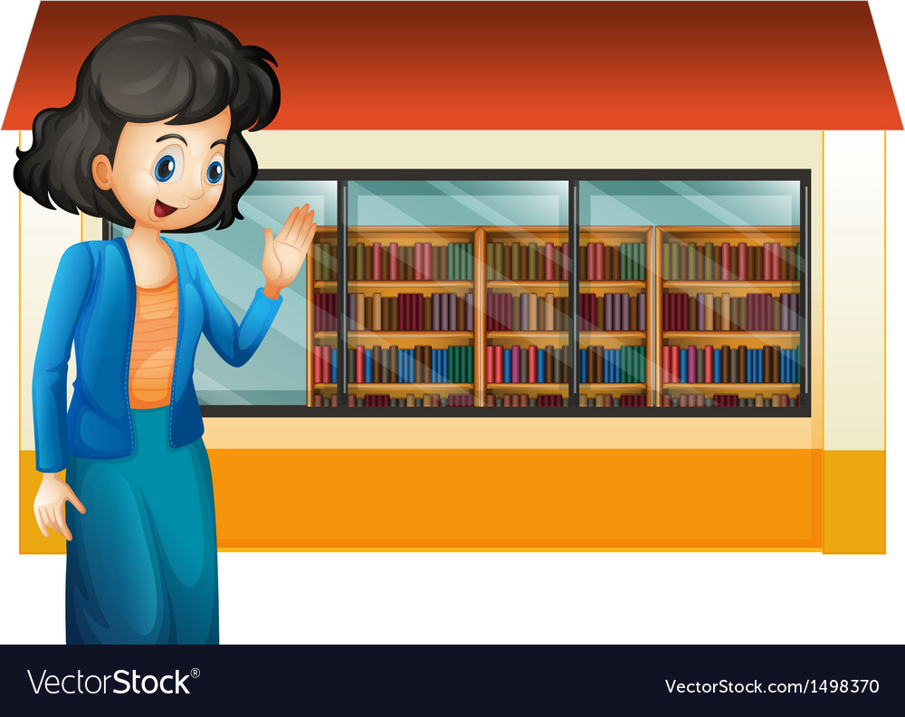 A librarian outside the library vector | Price: 1 Credit (USD $1)