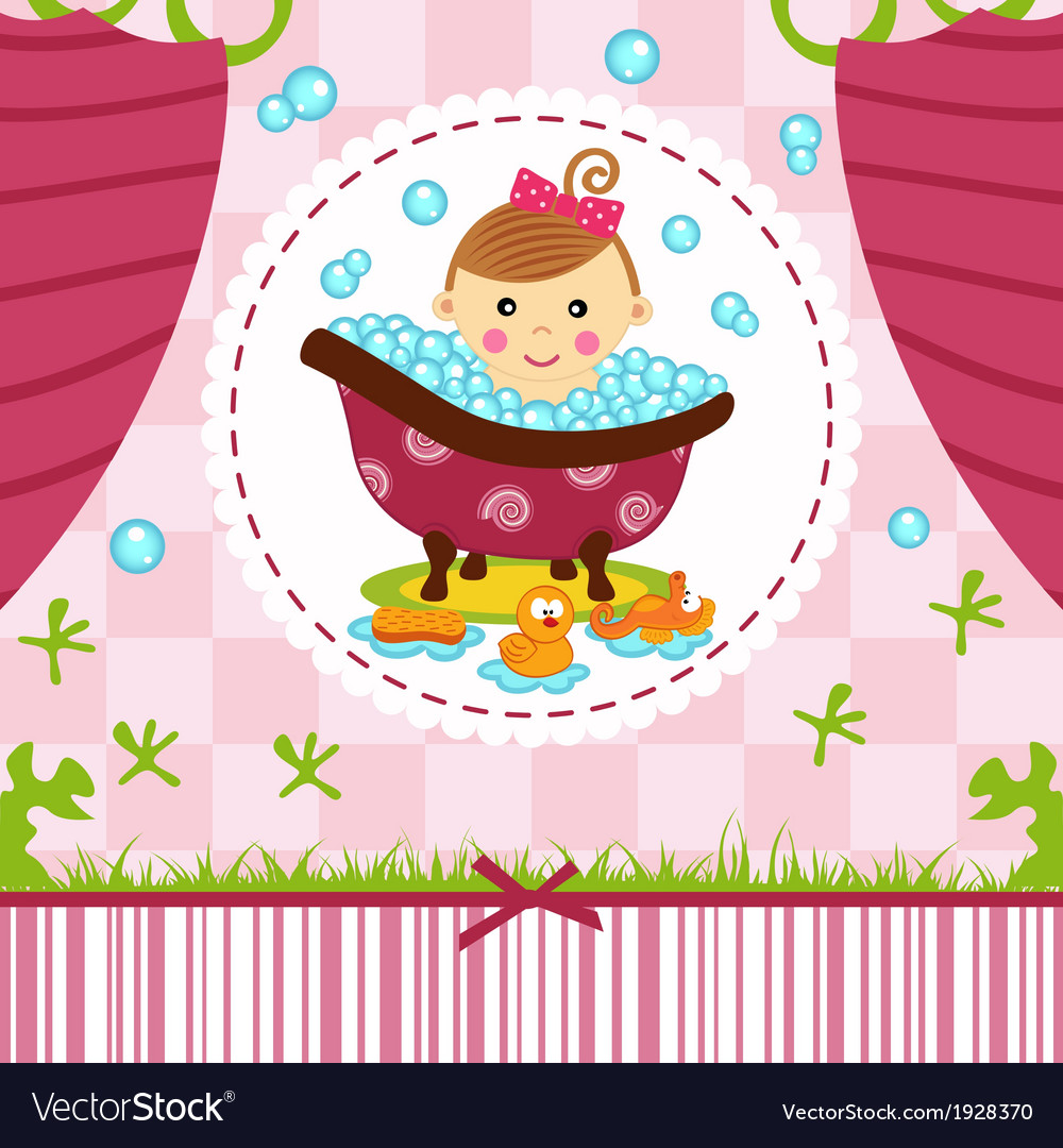 Baby girl in bath vector | Price: 1 Credit (USD $1)