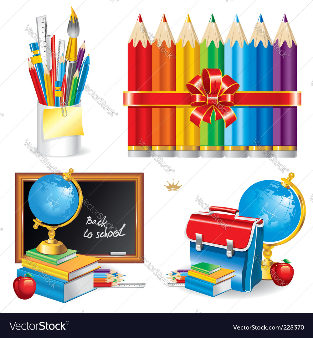 Back to school set illustration vector | Price: 1 Credit (USD $1)