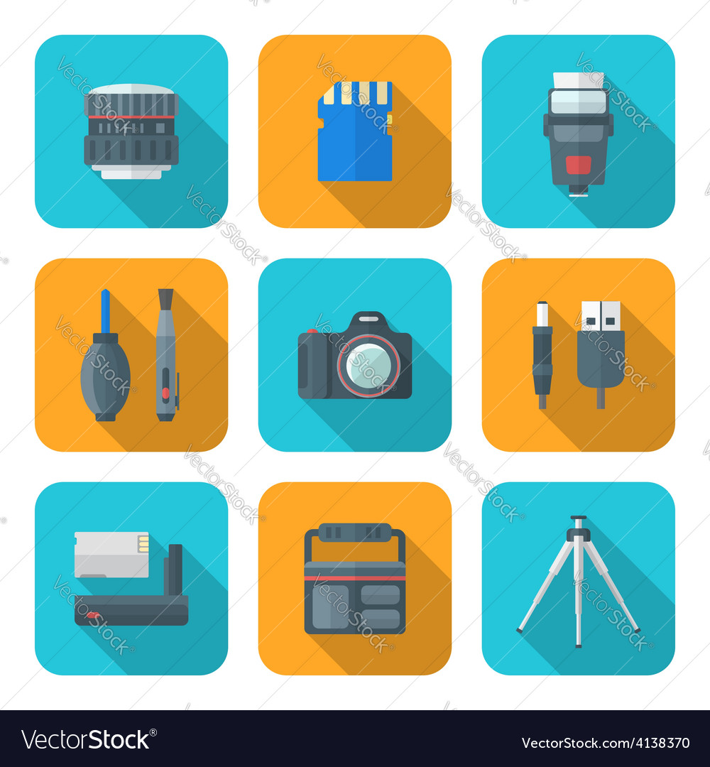 Color flat style square digital photography tools vector | Price: 1 Credit (USD $1)