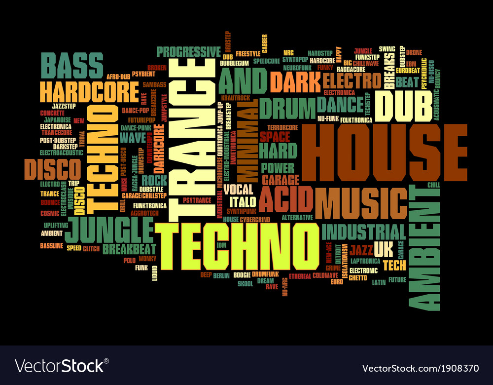 Electronic techno music styles word cloud bubble vector | Price: 1 Credit (USD $1)