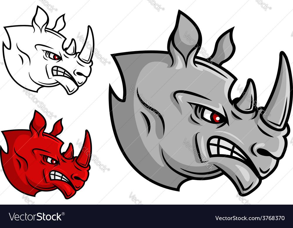 Fierce cartoon rhino head vector | Price: 1 Credit (USD $1)
