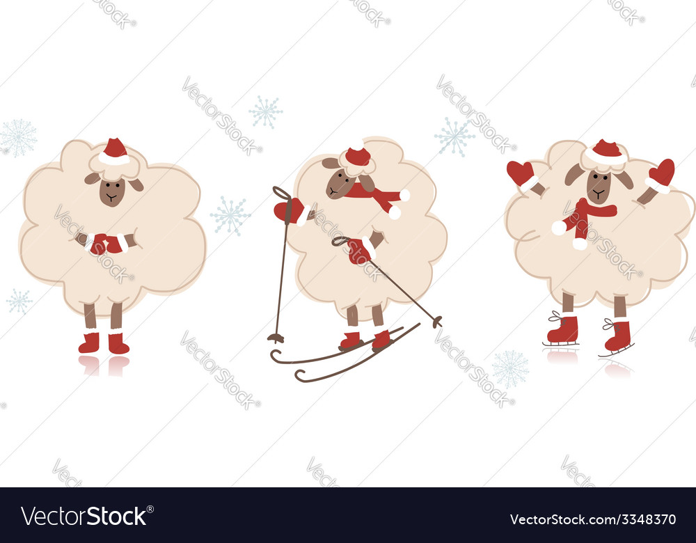 Funny santa sheeps symbol of new year 2015 vector | Price: 1 Credit (USD $1)
