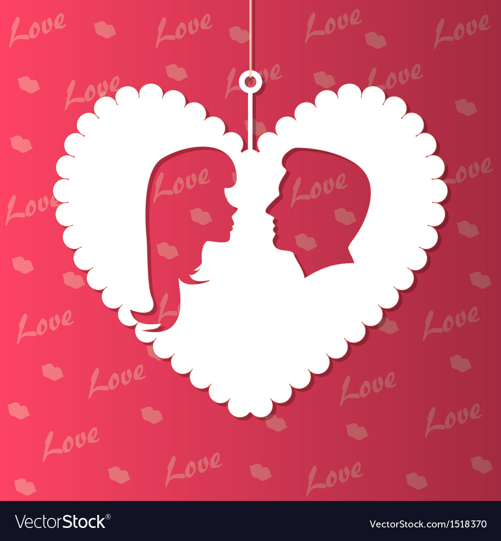 Paper hearts and lovers silhouette vector | Price: 1 Credit (USD $1)